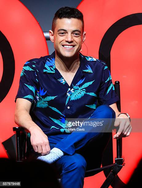 Actor Rami Malek onstage during the Panel Reception for USA Network's 'Mr Robot' held at the NeueHouse Hollywood on June 3 2016 in Los Angeles...