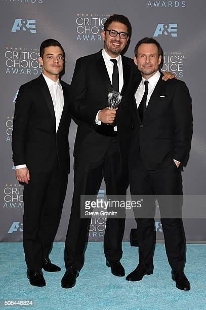 Actor Rami Malek producer Sam Esmail and actress Christian Slater of 'Mr Robot' winner of the award for Best Drama Series pose in the press room...
