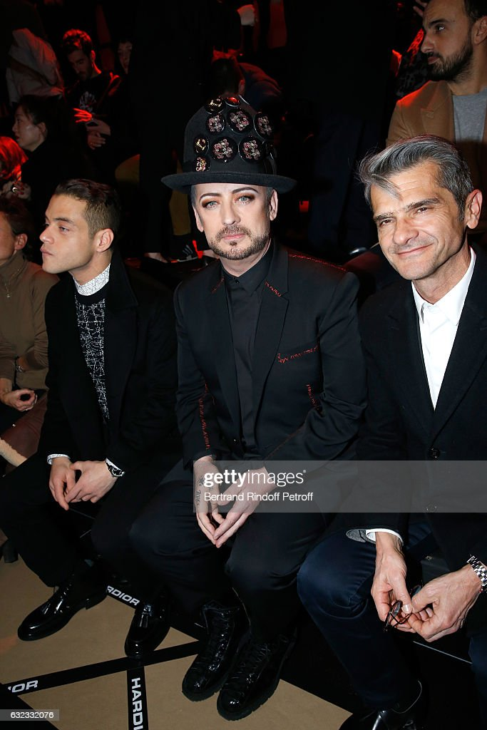 Actor Rami Malek, singer Boy George and Chief operating officer of Christian Dior Couture, Serge Brunschwig attend the Dior Homme Menswear Fall/Winter 2017-2018 show as part of Paris Fashion Week on January 21, 2017 in Paris, France.