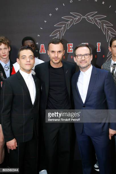 Actor Rami Malek Stylist Kris Van Assche and actor Christian Slater pose Backstage after the Dior Homme Menswear Spring/Summer 2018 show as part of...