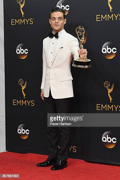 Actor Rami Malek winner of Best Actor in a Drama Series for 'Mr Robot' poses in the press room during the 68th Annual Primetime Emmy Awards at...