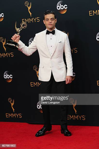 Actor Rami Malek winner of Outstanding Lead Actor in a Drama Series for 'Mr Robot' poses in the 68th Annual Primetime Emmy Awards Press Room at the...