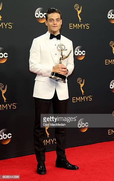 Actor Rami Malek winner of the award for Outstanding Lead Actor in a Drama Series for 'Mr Robot' poses in the press room at the 68th Annual Primetime...