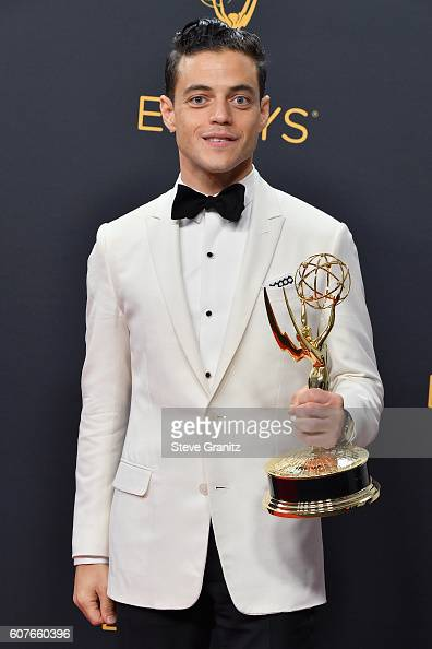 Actor Rami Malek winner of the Outstanding Lead Actor in a Drama Series award for 'Mr Robot' poses in the press room during the 68th Annual Primetime...