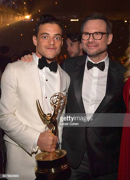 Actor Rami Malek winner of the Outstanding Lead Actor in a Drama Series award for 'Mr Robot' and actor Christian Slater attend the 68th Annual...