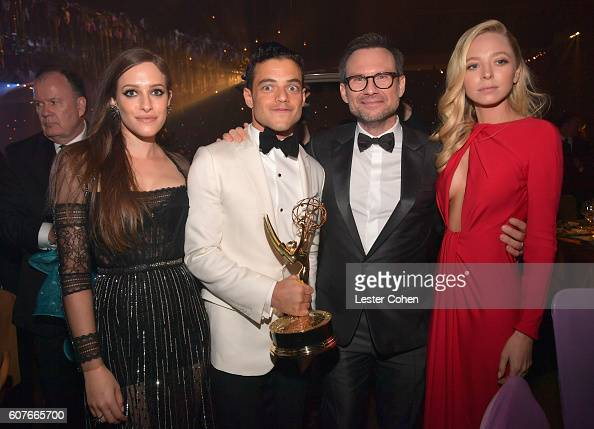 Actor Rami Malek winner of the Outstanding Lead Actor in a Drama Series award for 'Mr Robot' and costars Carly Chaikin Christian Slater and Portia...