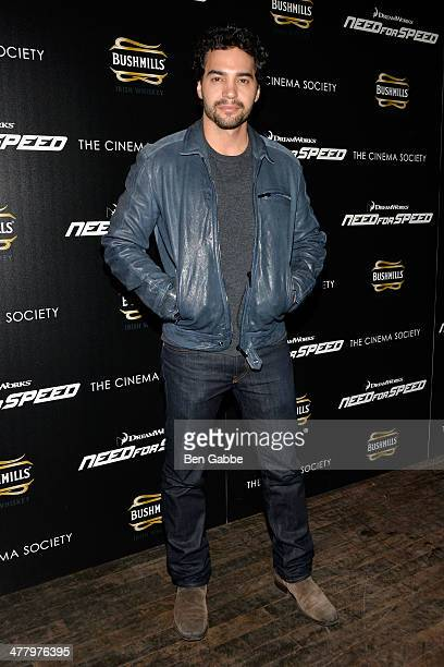 Actor Ramon Rodriguez attends The Cinema Society Bushmill's screening of DreamWorks Pictures' 'Need for Speed' at the Tribeca Grand Hotel on March 11...