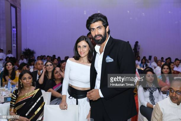 Actor Rana Daggubati and Fashion Designer Rina Dhaka during the Hindustan Times Game Changer Awards 2017 at Hotel Oberoi on May 24 2017 in Gurgaon...