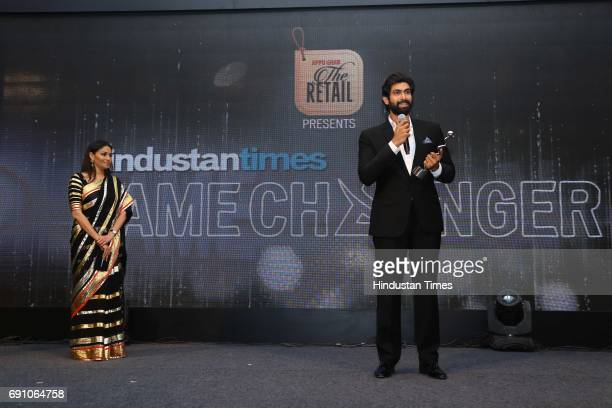 Actor Rana Daggubati with Fashion entrepreneur Kalyani Chawla during the Hindustan Times Game Changer Awards 2017 at Hotel Oberoi on May 24 2017 in...