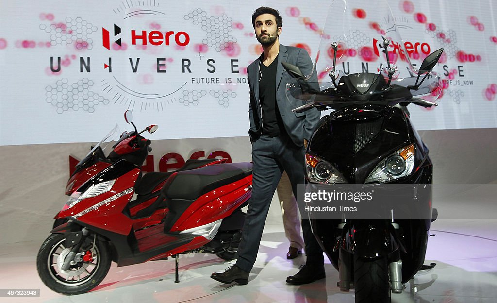 Actor Ranbir Kapoor during the launch of two powerful and sleek looking scooters - the 150cc ZIR range, and the aggressively styled 125cc Dare at Hero Pavilion during the 12th Auto-Expo 2014 at India Expo Mart on February 6, 2014 in Greater Noida, India.