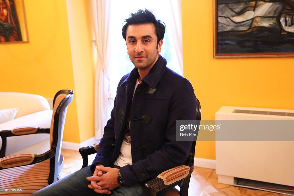 Actor <a gi-track='captionPersonalityLinkClicked' href=/galleries/search?phrase=Ranbir+Kapoor&family=editorial&specificpeople=4534979 ng-click='$event.stopPropagation()'>Ranbir Kapoor</a> in the consulate suite after the 'Besharam' press conference celebrating 100 years of Indian Cinema at Consulate General Of India on September 23, 2013 in New York City.