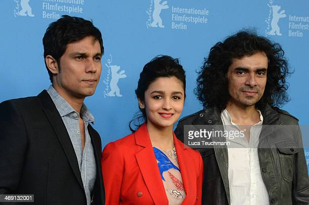 Actor Randeep Hooda actress Alia Bhatt and director Imtiaz Ali attend the 'Highway' photocall during 64th Berlinale International Film Festival at...