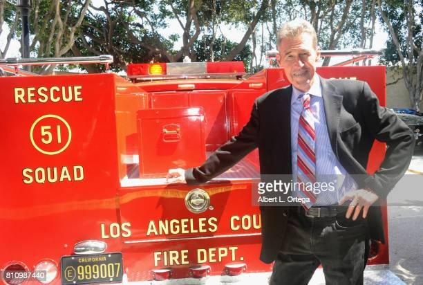 Actor Randolph Mantooth poses with his vehicle from 'Emergency' at The Hollywood Show held at Westin LAX Hotel on July 8 2017 in Los Angeles...