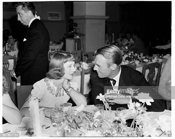 Actor Randolph Scott and actress Norma Shearer at an event in Los Angeles California