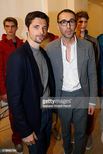 Actor Raphael Personnaz and Fashion designer Alessandro Sartori pose Backstage after the Berluti Menswear Spring/Summer 2016 show as part of Paris...