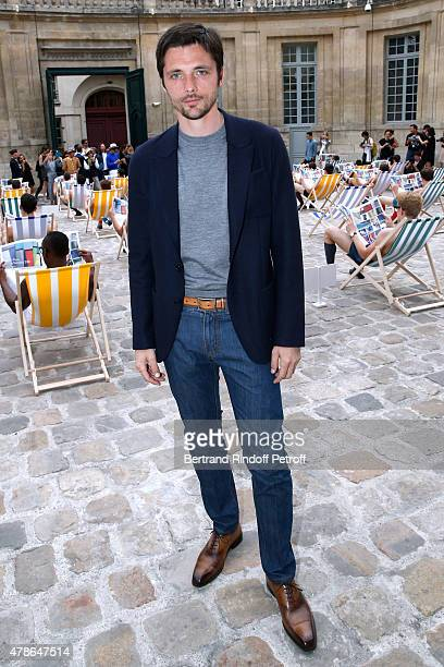 Actor Raphael Personnaz attends the Berluti Menswear Spring/Summer 2016 show as part of Paris Fashion Week Held at Musee Picasso on June 26 2015 in...