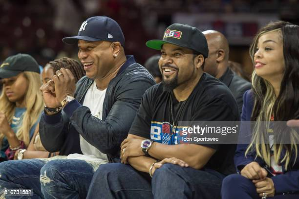 Actor / rapper LL Cool J and Ice Cube share a laugh during a BIG3 Basketball league game on July 16 2017 at Wells Fargo Center in Philadelphia PA