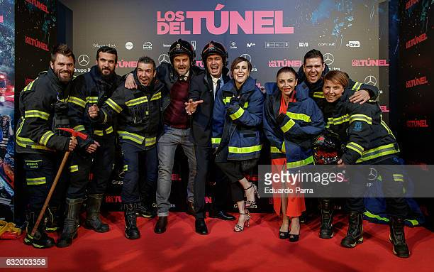 Actor Raul Cimas actor Arturo Valls actress Neus Asensi and actress Natalia de Molina attend 'Los del Tunel' premiere at Capitol cinema on January 18...