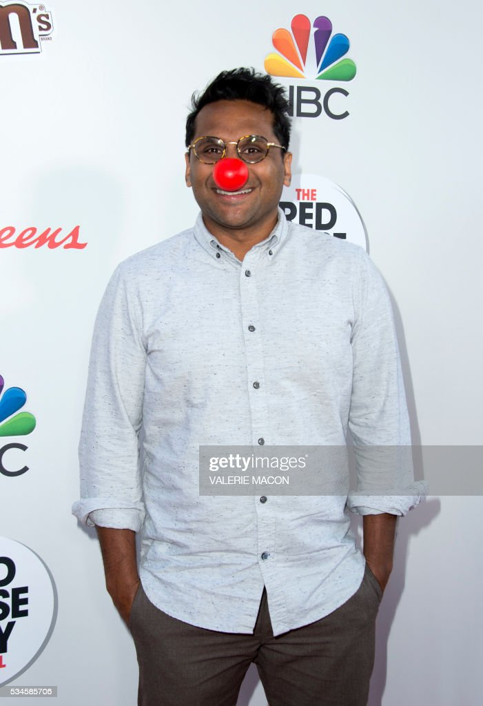 Actor Ravi Patel attends the 2nd Red Nose Day Special on NBC, in Universal Studios, California, on May 26, 2016. / AFP / VALERIE