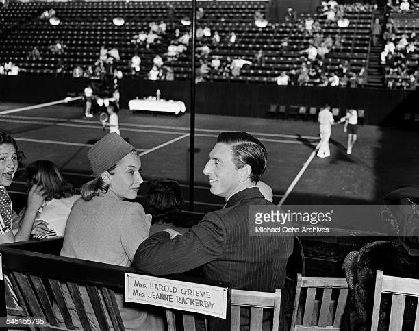 Actor Ray Bolger and his wife Gwendolyn attend the LA Tennis Open in Los Angeles California