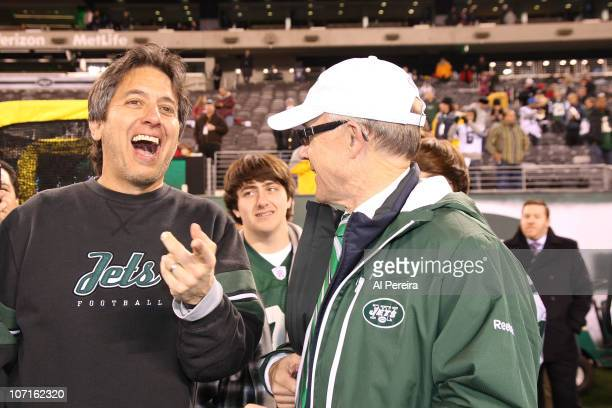 Actor Ray Romano meets with New York Jets owner Woody Johnson during the Cincinnati Bengals Vs New York Jets game at the New Meadowlands Stadium on...