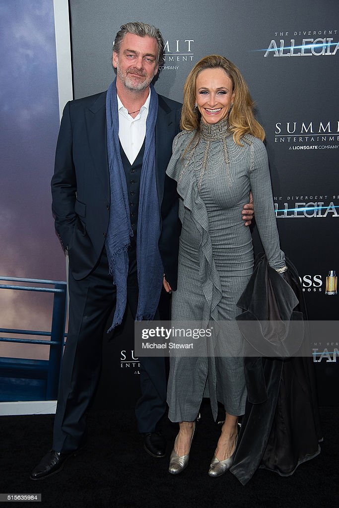Actor Ray Stevenson and Anthropologist Elisabetta Caraccia attend the 'Allegiant' New York premiere at AMC Lincoln Square Theater on March 14 2016 in...