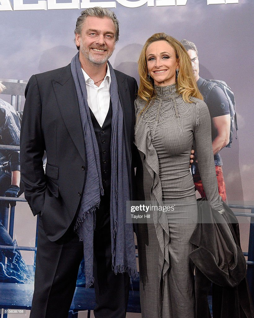 Actor Ray Stevenson and anthropologist Elisabetta Caraccia attend the 'Allegiant' premiere at AMC Lincoln Square Theater on March 14 2016 in New York...