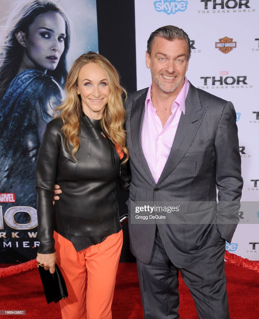 Actor Ray Stevenson and wife Elisabetta Caraccia arrive at the Los Angeles premiere of 'Thor The Dark World' at the El Capitan Theatre on November 4...