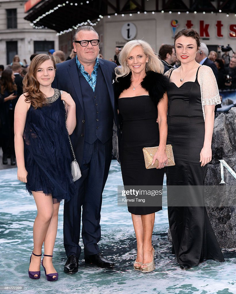 Actor Ray Winstone with (L-R) Ellie Winstone, Elaine Winstone and Lois Winstone attend the UK premiere of 'Noah' held at the Odeon Leicester Square on March 31, 2014 in London, England.