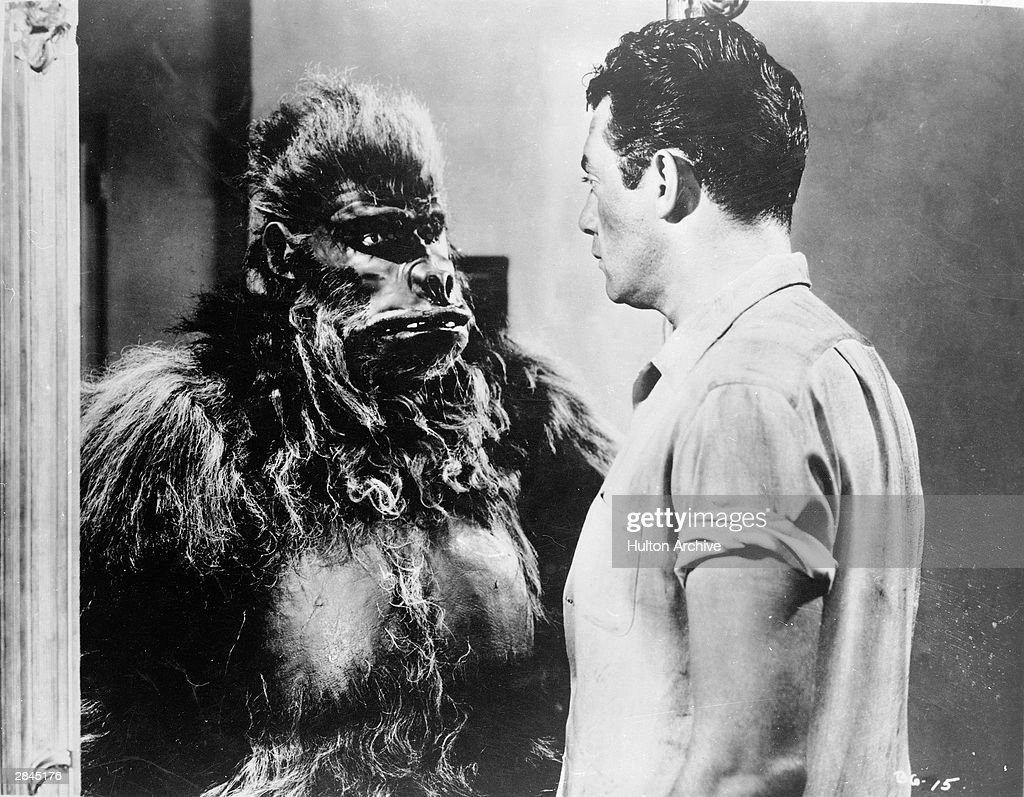 Actor Raymond Burr faces an actor in a gorilla costume in a still from the film 'Bride Of The Gorilla' directed by Curt Siodmak 1951