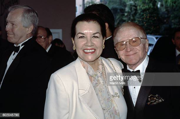 Actor Red Buttons and his wife Alicia Pratt attend Milton Berle's 90th Birthday Celebration on July 12 1998 at the Beverly Hills Hotel in Beverly...