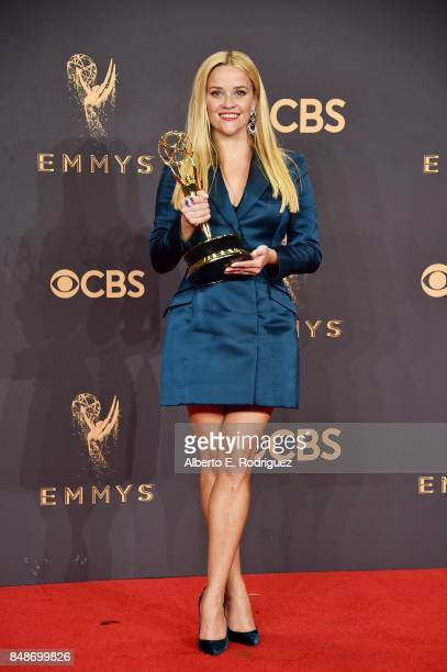 Actor Reese Witherspoon winner of Outstanding Limited Series for 'Big Little Lies' poses in the press room during the 69th Annual Primetime Emmy...