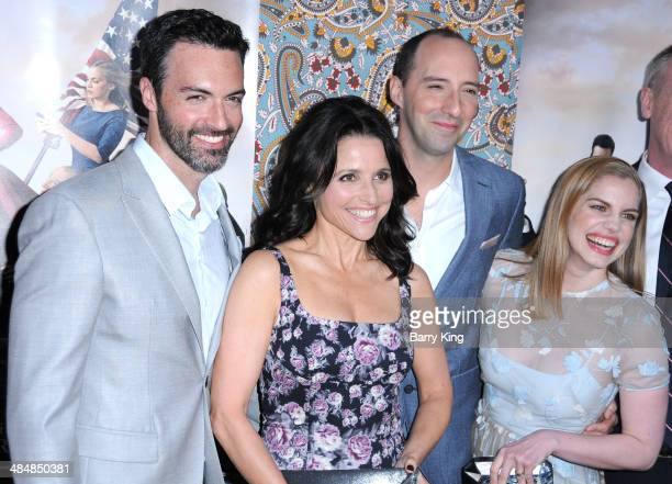 Actor Reid Scott actress Julia LouisDreyfus actor Tony Hale and actress Anna Chlumsky attend the premiere of HBO's 'Veep' season three on March 24...