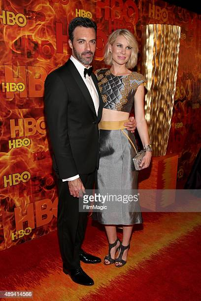 Actor Reid Scott and Elspeth Keller attend HBO's Official 2015 Emmy After Party at The Plaza at the Pacific Design Center on September 20 2015 in Los...