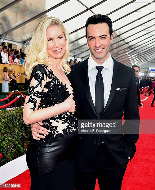 Actor Reid Scott and Elspeth Keller attend the 21st Annual Screen Actors Guild Awards at The Shrine Auditorium on January 25 2015 in Los Angeles...