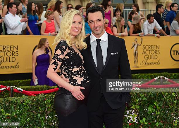 Actor Reid Scott and Elspeth Scott arrive for the 21st Annual Screen Actors Guild Awards January 25 2015 at the Shrine Auditorium in Los Angeles...