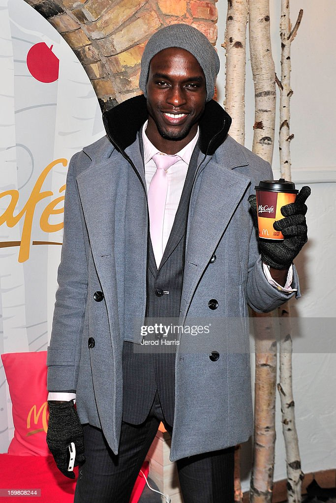 Actor Rhyan Atrice warms up at the McDonald's McCafe Lodge at Sundance on January 20, 2013 in Park City, Utah.