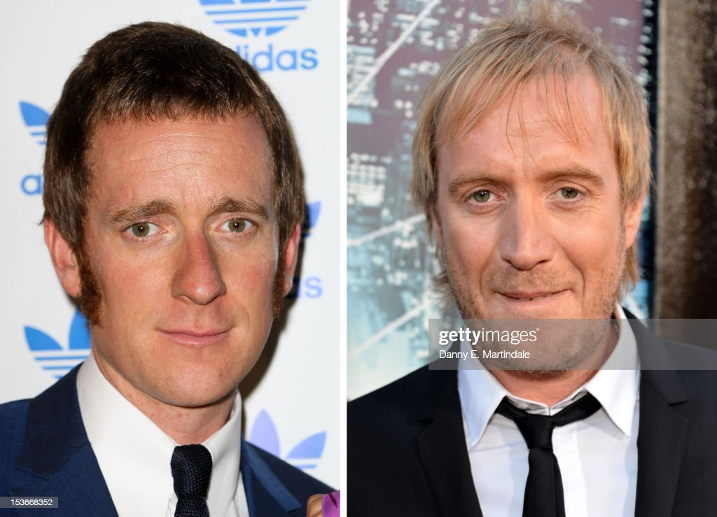 In this composite image a comparison has been made between Bradley Wiggins (L) and Rhys Ifans. Actor Rhys Ifans will reportedly play cyclist Bradley Wiggins in a film biopic. WESTWOOD, CA - JUNE 28: Actor Rhys Ifans arrives at the premiere of Columbia Pictures' 'The Amazing Spider-Man' at the Regency Village Theatre on June 28, 2012 in Westwood, California.