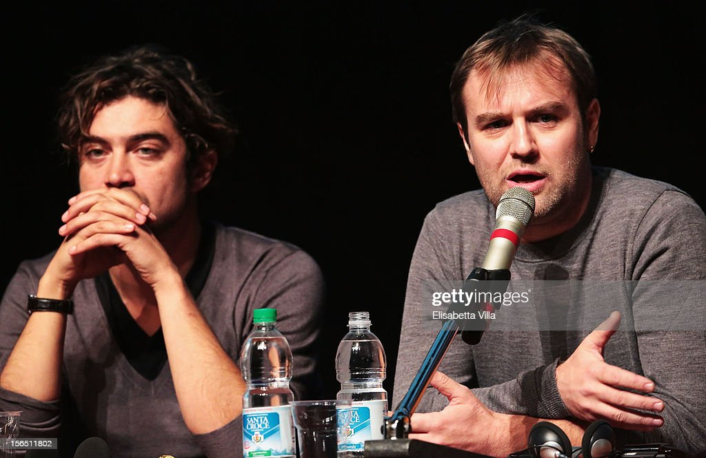 Actor <a gi-track='captionPersonalityLinkClicked' href=/galleries/search?phrase=Riccardo+Scamarcio&family=editorial&specificpeople=816804 ng-click='$event.stopPropagation()'>Riccardo Scamarcio</a> and director Francesco Amato attends the 'Cosimo E Nicole' Press Conference during the 7th Rome Film Festival at the Auditorium Parco Della Musica on November 16, 2012 in Rome, Italy.