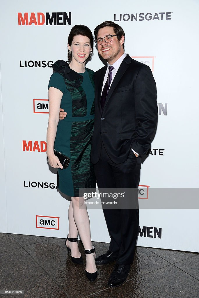 Actor Rich Sommer (R) and his wife Virginia Donohoe arrive at AMC's 'Mad Men' Season 6 Premiere at the DGA Theater on March 20, 2013 in Los Angeles, California.