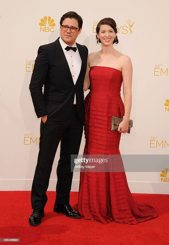 Actor <a gi-track='captionPersonalityLinkClicked' href=/galleries/search?phrase=Rich+Sommer&family=editorial&specificpeople=4406963 ng-click='$event.stopPropagation()'>Rich Sommer</a> (L) and Virginia Donohoe arrive at the 66th Annual Primetime Emmy Awards at Nokia Theatre L.A. Live on August 25, 2014 in Los Angeles, California.