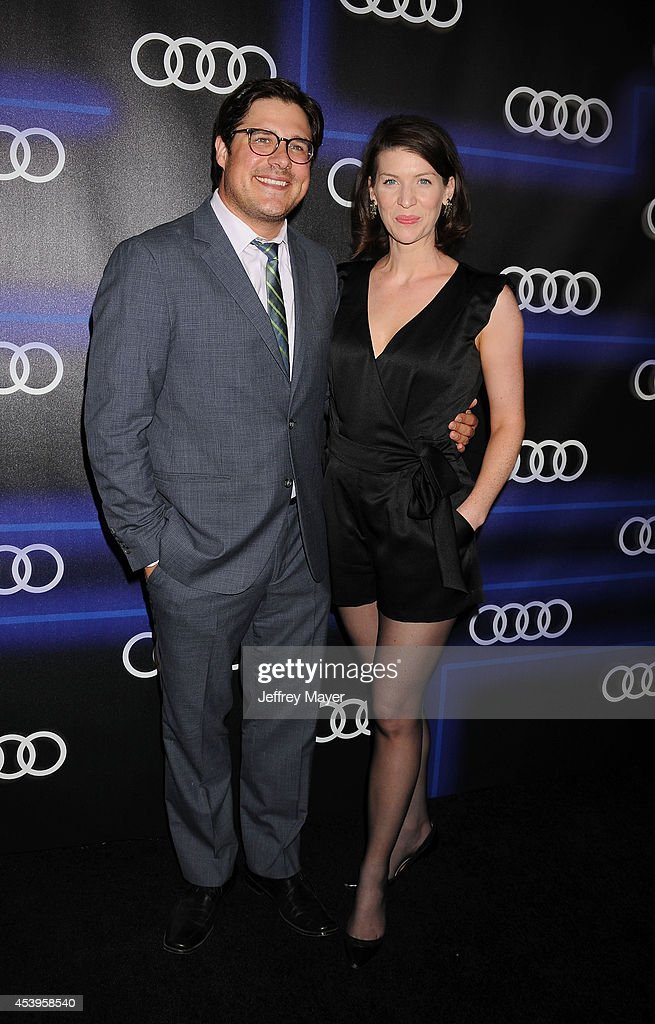 Actor Rich Sommer (L) and Virginia Donohoe arrive at the Audi Emmy Week Celebration at Cecconi's Restaurant on August 21, 2014 in Los Angeles, California.