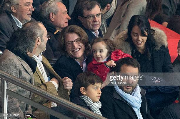 Actor Richard Anconina Jean Sarkozy Solal Sarkozy Jessica Sebaoun and Bruce Toussaint are seen during the Ligue 1 match between Paris Saint Germain...