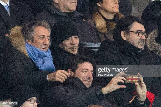 Actor Richard Anconina singers Pascal Obispo and Patrick Bruel attend the Paris Saint Germain FC vs Girondins de Bordeaux at Parc des Princes on...