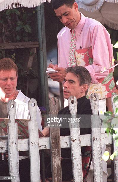 Actor Richard Belzer orders lunch at the Ivy restaurant December 20 2000 in Beverly Hills CA