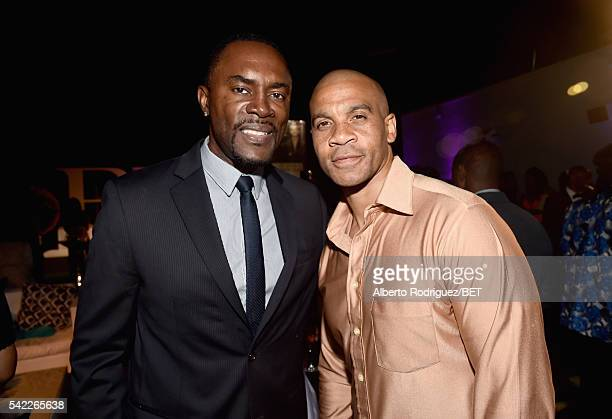 Actor Richard Brooks and actor Aaron D Spears attend Debra Lee's PRE kicking off the 2016 BET Awards on June 22 2016 in Los Angeles California