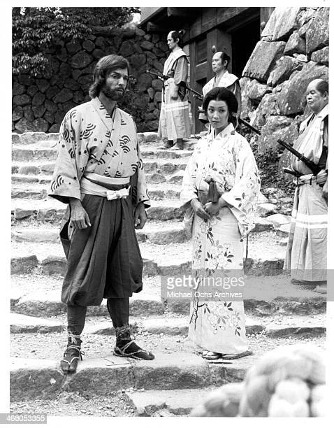 Actor Richard Chamberlain and actress Yoko Shimada on set of the miniseries 'Shogun' circa 1980