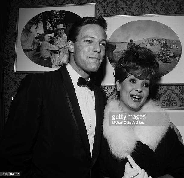 Actor Richard Chamberlain poses with Clara Day in Los Angeles California
