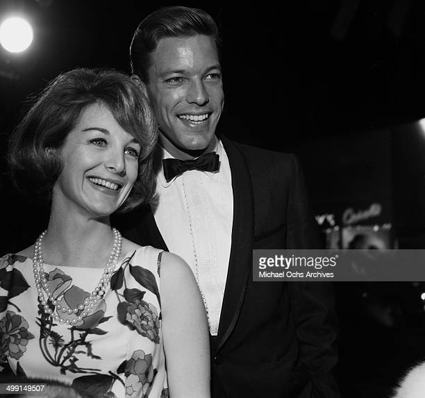 Actor Richard Chamberlain poses with guest in Los Angeles California