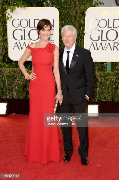 Actor Richard Gere and actress Carey Lowell arrive at the 70th Annual Golden Globe Awards held at The Beverly Hilton Hotel on January 13 2013 in...